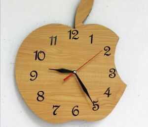 Handmade Apple Shape Wooden Watch Wall Clock Home & Office Living Decorative