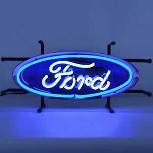 "Ford Oval Junior Car OLP Sign Dealer Banner Neon Light Sign 17"" by 8"""