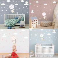 Nursery Wall Decal Elephant Baby Moon Star Cloud Wall Sticker Cartoon Art Decor