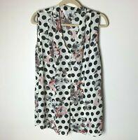 Rose & Olive Women's Sleeveless Top Size Large Blouse V-Neck Floral Polka Dots