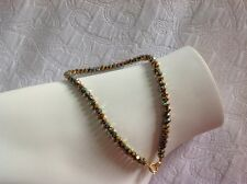 Flashy Golden Crystal Faceted Beaded Anklet 10 Inch