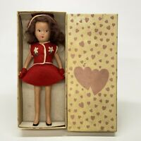 "Vintage Kerr & Hinz 7"" Bisque Doll Red Felt Dress Outfit Hat & Mittens With Box"