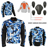 Motorbike Motorcycle Jacket Waterproof Black Textile Biker Armoured CE Cordura