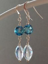 Ab Faceted Crystals 14ct Rg Earrings Vintage Deco Peacock Blue Foil Glass &