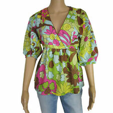 Blouse Cotton 3/4 Sleeve Floral Tops & Shirts for Women