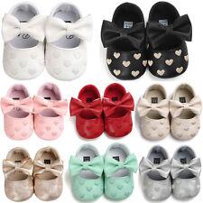 Baby Neugeborene Kinder Mädchen Schleife Leder Schuhe rutschfeste Turnschuhe