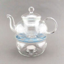 Clear Glass Teapot 20oz with Herbal Infuser & Tealight Candle Warmer Holder Bowl