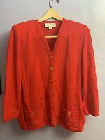 St. John Collection Marie Gray RED Santana knit blazer suit jacket Size M