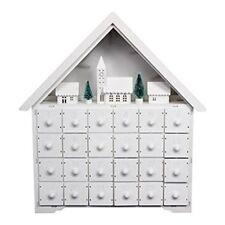 Gisela Graham Wooden Led Style Advent Calendar - White Christmas Advent Calendar