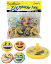 Bulk Wholesale Job Lot 36 Packs of 8 Emoji Spinning Tops Toys Party