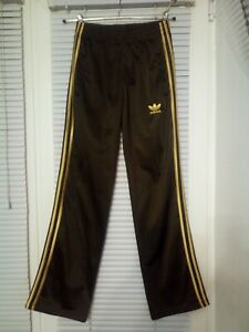 Adidas Track Pants Vintage Old School Brown 3 Gold Stripes Size XXL Germany