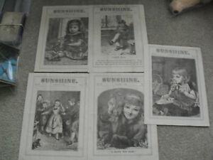 Lot of 5 Vintage 1892 Sunshine Childrens Religious Newspaper 4 Pg Booklets