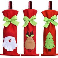 1pc Red Wine Bottle Cover Bags Snowman/Santa Claus Christmas Decoration Sequins
