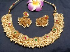 Ethnic Gold Plated South Indian Style Imitation Pearl Choker and Earrings Set