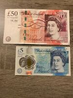 Great Britain 50 + 5 Pound Banknotes. 55 Pounds Total. 2 England Bills. Cir h