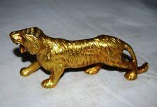 Brass Tiger Statue Golden Wild Animal Theme Office Table Showpiece Decor ML110
