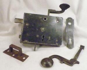Antique Iron Dutch Elbow Lock Right Door Hardware Keeper Escutcheon Works #7