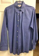 Men's XL Hathaway Long Sleeve Blue Button Down Shirt size 17- 35 Excellent