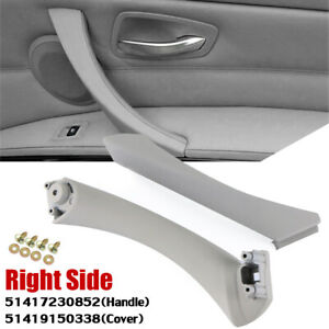 Right Side Grey Inner+Outer Door Panel Handle Pull Trim Cover For BMW E90 328i