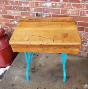 Vintage Child's School Desk Turquoise Cast Iron Legs Oak Flip Top With Storage
