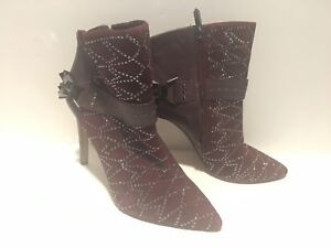 SAM EDELMAN  sexy Studded stiletto Ankle Boots/ Leather Booties 7 MAROON