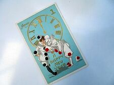 OLD EMBOSSED PC: NEW YEAR~PIERROT & COLOMBINE~ca 1908