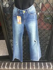 David Jones Women's Distressed Flare Leg Jeans - Blue Denim, Belt Loops - Size 8