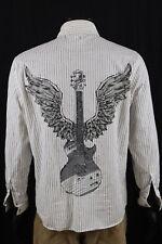 Roar Mens White Stripe Embellished LS Pearl Snap Shirt Sz 16T Large Tall