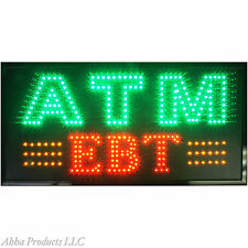 "Bright 32x16"" ATM Transaction Machine EBT Food Stamps Store LED Open Sign neon"