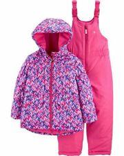 OSHKOSH Little Girls 4 5/6 6X Pink Chevron 2-Pc Bib...