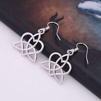 Viking Celtic Irish Triquetra Trinity Knot Heart Drop Earring for Women Girls