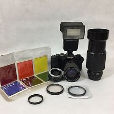 Konica FS1 SLR Camera Hexagon AR 80mm f1.4 70-210 f4 Zoom Lens Flash Hood Filter