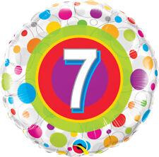 "7th BIRTHDAY PARTY SUPPLIES 18"" AGE 7 COLOURFUL DOTS QUALATEX FOIL BALLOON"