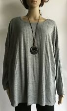 Italian Lagenlook Soft Lightweight Jumper Top & Necklace One Size  (UK 12-20)