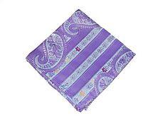 Lord R Colton Masterworks Pocket Square - Sannibel Purple Stripe Silk - New