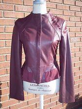 BCBG Maxazria Burgundy Leather Jacket US XS