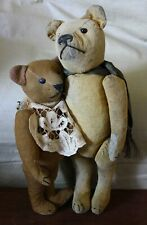 "Antique Mohair furless French Teddy Bear Fadap 14"" and Pintel 11"" RARE"