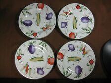 "Furio Contemporary Casuals Garden Delight 8"" Salad Plates Set of 4 Green Trim"