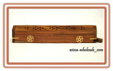 Pentagram Incense Cone & Stick Burner Pentacle Wooden Coffin Free Priority Ship