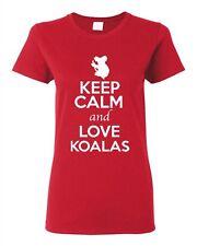 Ladies Keep Calm And Love Koalas Bear Animal Lover Wild Funny T-Shirt Tee
