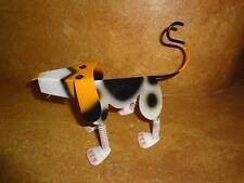 Metal Tin Dog Figure Springy Legs Neck White Black Spots Black Brown White