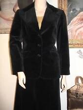 "Gorgeous vtg 70s black velveteen skirt jacket suit lined great condition 12 W27"""