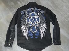 chemise fashion homme noire EXTREME COUTURE croix bleue et ailes- taille M