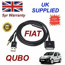 FIAT QUBO per Apple iPhone 3GS 4 4S IPHONE IPOD USB 3.5MM AUX AUDI O CAVO NERA