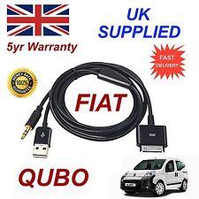 FIAT QUBO PER APPLE IPHONE 3GS 4 4S iPhone iPod USB 3,5 mm AUX Cavo Audio Nero