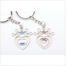 "Lovers "" You Baby "" Crown Heart Couple Key Chain Ring Keyring Keyfob Lover Sale"