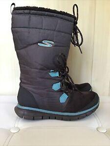 Skechers Brown Nylon Flat Boots Size Uk 5 Eu 38