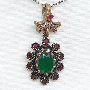 Deco 3.65ctw Emerald, Ruby & Diamond Cut Sapphire 14K Yellow Gold Silver Pendant