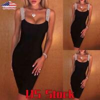 Sexy Women Sequin Vest Dress Evening Party Sleeveless Camisole Bodycon Casual US