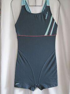 SPEEDO SWIMWEAR FEMALE ENDURANCE GREEN BLUE RADAR LEGSUIT/ BUST LINER UK SMALL